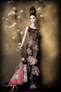 OOAK gown of embrodered mesh with swarovski crystals for Numina by Madeleine Rose Couture