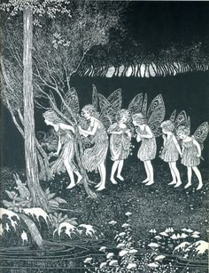 Six fairy girls in the woods at night.... (Artist: Ida Rentoul Outhwaite.)