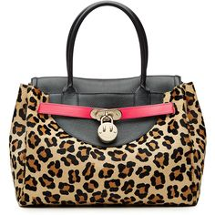 Hill & Friends Happy Tote Leather and Calf Hair Tote ($2,550) ❤ liked on Polyvore featuring bags, handbags, tote bags, animal prints, handbags totes, leopard tote, tote purse, leather purse and animal print tote