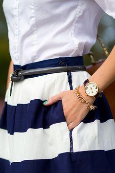 Nautically inspired skirt.
