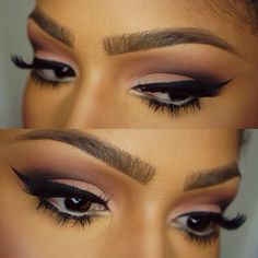 """#ShareIG Winged eyeliner I used inglot 77 eyeliner with @Morphe Brushes angled brush. Mac soft brown and saddle in the crease. @LORAC Cosmetics """"black"""" in the outer crease and """"cream"""" on the lid. @doseofcolors """"dose of drama"""" lashes on top. @lashesinabox no.2 bottom lashes. @MACcosmetics nc15 chromagraphic pencil in waterline. @anastasiabeverlyhills """"chocolate"""" dip brow pomade. #morphebrushes #doseofcolors #lashesinabox #loraccosmetics #maccosmetics #anastasiabeverlyhills"""