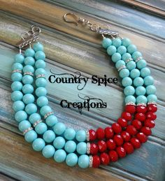 Check out this beautiful glass pearl turquoise and red necklace! For more creations LIKE Country Spice Creations on Facebook!