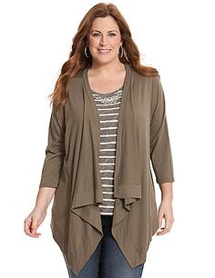 Wrapped or worn long, our soft knit cardigan is a terrific way to top so many looks. Simply detailed with ribbed trim and cuffs, this easy-wearing piece is an ideal way to layer on breezy days with long sleeves and an open placket with pointed hem.  lanebryant.com
