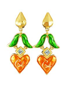 CHRISTIAN LACROIX * Gorgeous vintage enameled heart dangling earrings