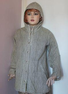 a Marimekko 1975 tagged striped hooded cotton jacket