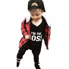 "Baby Kids Boy Girl ""I'm the boss"" Infant Romper Jumpsuit Bodysuit Clothes Outfit Set Black) Trendy Baby Boy Clothes, Cute Baby Boy Outfits, Boys Summer Outfits, Newborn Boy Clothes, Unisex Baby Clothes, Baby Boy Newborn, Toddler Outfits, Kids Outfits, Baby Boys"