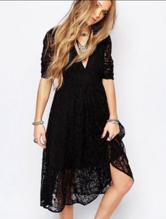 Free People Mountain Laurel Black Lace Dress