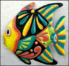 Hand painted metal tropical fish wall hanging, Tropical metal art - Metal wall art - Tropical fish art - Garden art, Garden decor, Brightly hand painted me Design Tropical, Tropical Home Decor, Tropical Decor, Tropical Fish, Tropical Furniture, Tropical Colors, Fish Wall Decor, Fish Wall Art, Fish Art