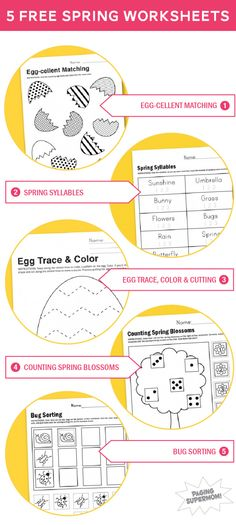 Five Free Printable #Worksheets for Spring from @PagingSupermom.com