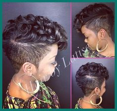 Fantastic Mohawk Hairstyles - lilostyle We can always see some black women wearing the cool mohawk hairstyles on the street. It is really interesting when the layered strands of hair meet the razor cut. A medium-sized mohawk hairstyle is sh SEE DETAILS. Black Women Hairstyles, Cool Hairstyles, Black Mohawk Hairstyles, Hairstyles Pictures, Shaved Hairstyles, Braided Hairstyles, Pixie Cut Blond, Curly Hair Styles, Natural Hair Styles