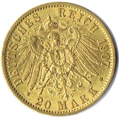 Moneda de oro 20 marcos Alemania. Guillermo II.