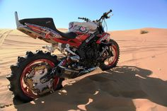 Desert offroad Triumph Street Triple R. Brake power overkill if you ask me.