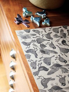 Birds stamped giftwrap