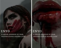 enyo (Ἐνυώ) - greek goddess of war, destruction & blood lust enyo (Ἐνυώ) - greek goddess of war, des Greek Mythology Gods, Greek Gods And Goddesses, Roman Mythology, Pretty Names, Pretty Words, Female Names, Female Goddess Names, Female Fantasy Names, Aesthetic Names