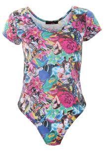 View Love N Rose Print Bodysuit