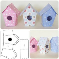 DIY Adorable House Magnets From Popsicle Sticks. Easter Crafts, Diy And Crafts, Christmas Crafts, Crafts For Kids, Arts And Crafts, Decoration Creche, Bird Houses Diy, Paper Houses, Paper Dolls
