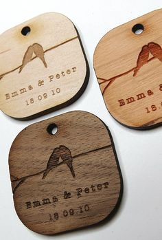 Another idea with wood 1.5 x 1.5 Birds Kissing Wedding Tags, maybe for mason jars? Or favours packaging?