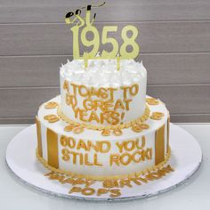 A toast to 60 great years!  ❤ #celejor #celejorcakes #celejorcakeshop #customised #2tiercake #est1958 #atoastto60greatyears #60andyoustillrock #60thbirthdaycake #60thbirthday #ferrorochercake #chocolatecake #whiteandgolden #caketopper #birthdaycakes #designercakes #amazingcakes #cakeart #cakes #mumbaicakes #mumbaifoodie #foodieofmumbai #photooftheday #foodphotography #love #dessert #mumbai