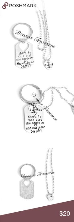 """❤️Daddy & Daughter Keychain & Necklace Set This adorable set has a keychain for Dad that says """"there is this little girl she stole my heart she calls me daddy"""" & a necklace for daughter that says """"Daddy's Girl"""". The necklace is a heart that fits perfectly into the heart shaped cutout in the keychain. The keychain has 1"""" ring & a 3.75"""" fob. The necklace has an 18"""" dog tag style chain. The heart is 1/2"""" from top to bottom & side to side.  Makes a very thoughtful gift for any age! Accessories…"""