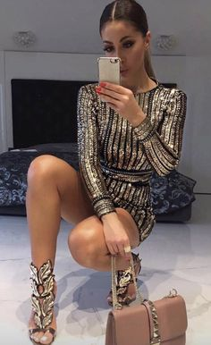 $69.99 Gold Striped Sequined Bodycon Dress