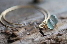 chalcedony & gold earrings