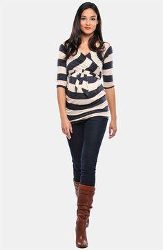 Maternity Cross Front Stripe Tunic | Nordstrom
