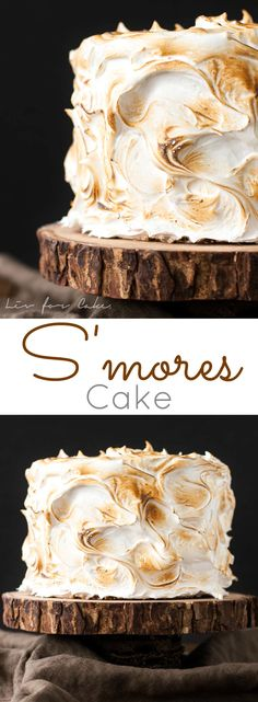 A graham cracker cake filled with a whipped milk chocolate ganache and topped with toasted marshmallow fluff.
