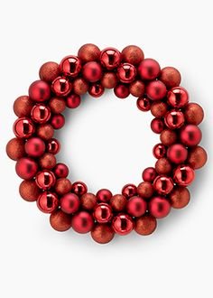18in Shiny, Matte, and Glitter Red Ball Wreath