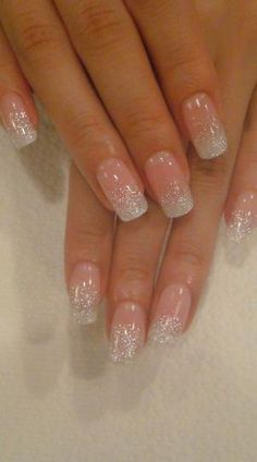 blush nails with silver glitter on the tips by oldrose