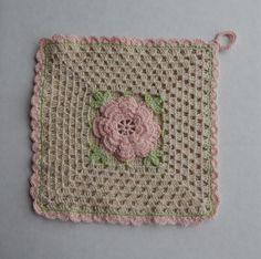 VintageStyle Rose Thread Crochet Pot Holder