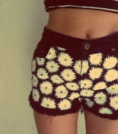 Black Daisy Shorts