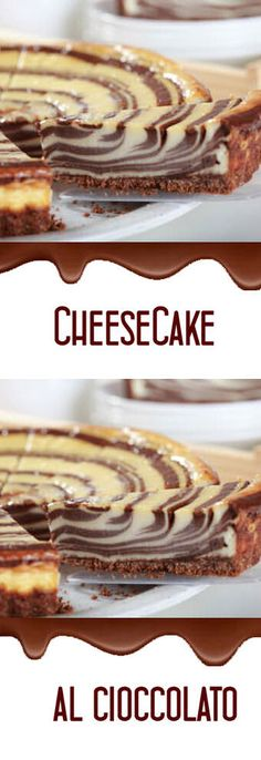 Cheesecake al cioccolatook Ice Cream Desserts, Mini Desserts, Sweet Recipes, Cake Recipes, Dessert Recipes, Torta Zebra, Nutella, Torta Angel, Torte Cake