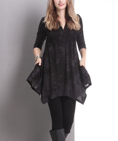 Another great find on #zulily! Black Floral Pin-Tuck Handkerchief Tunic #zulilyfinds