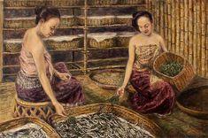 Painting - Raising Silkworms by Sompaseuth Chounlamany , Thailand Art, Livestock, Fine Art America, Concept Art, Original Paintings, Raising, Wall Art, Drawings, Traditional Clothes
