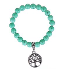 Turquoise Beaded Bracelet w/ Tree Of Life Charm >>> https://keepforests.com/beaded-owl