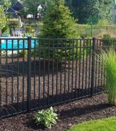 Ornamental Aluminum three rail fence around pool Pool Ideas, Bar Ideas, Fence Around Pool, Get Off My Lawn, Third Rail, Fenced Yard, Steel Fence, Aluminum Fence, Rail Fence