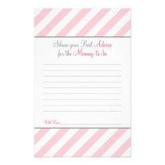 Baby Shower Games - Advice Card for New  Mom - 774 Customized Stationery