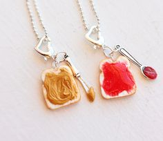 Peanut Butter & Jelly Friend Necklaces by bookmarksnrings, $14.50