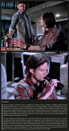 Two reactions to a small peace offering [click through for an easier to read but not as pinnable page] - Sam and Dean and the everyday comfort of a bottle of beer. - Supernatural, Season 9