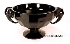 Jet Black Glass Centerpiece Bowl, Elephant Head Candleholder Handles, Ceremony