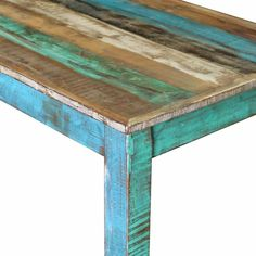 Wooden Bar Table, Table Bar, Solid Wood Dining Table, Dining Table In Kitchen, Table Vintage, Vintage Stil, Painted Coffee Tables, Into The Woods, Wooden Tops
