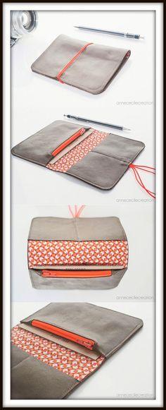 portefeuille porte monnaie porte carte, 3 en 1, cuir tissu élastique. 3 fois mieux. AnneCecileCreation.