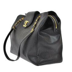 77c8396e4395 CHANEL. PARIS. ONLINE SALE. Black Stingray Caviar Leather Vintage Super  Model Jumbo CC Travel Bag