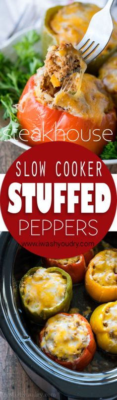 healthy food recipes chiken dinner cooking These Slow Cooker Steakhouse Stuffed Peppers are bursting with flavor and only take a few minutes to prep! The perfect easy weeknight dinner recipe! Crock Pot Slow Cooker, Crock Pot Cooking, Slow Cooker Recipes, Crockpot Recipes, Cooking Recipes, Healthy Recipes, Tofu Recipes, Mexican Recipes, Casserole Recipes