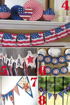 4th of July Crafts to make! 4. Flag Napkin Bunting   5. USA Banner   6. Happy 4th Banner   7. 4th of July Banner    8. Mini Pie Bunting