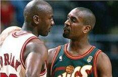Michael Jordan and Gary Payton (Seattle Sonics)