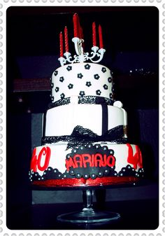 Tarta fondant cuarenta añitos...tarta glamour...
