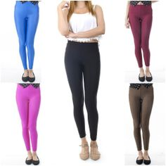 ebclo- Basic Solid Color Shiny Nylon/Spandex Knit Skinny Leggings Long Pants NEW $13.00 Free Domestic Shipping