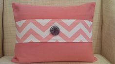 Coral twill pillow cover with chevron accent band and choice of white felt stitched lettering, $39.00