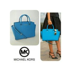 """MICHAEL KORS LARGE SELMA MICHAEL KORS LARGE SELMA In Summer Blue Saffiano Leather scratch-resistant. Dual Leather Handles with 4"""" Drop Measures 13""""x 10""""x6"""" Detachable / Adjustable Shoulder Strap with Approx 17"""" - 19"""" Drop Top Zip Closure with Hardware Pull Gold Tone Hardware Michael Kors Logo at Front Inside with One Zip Pocket & Four Slip Pockets & Key Clip Protective Metal Feet at Bottom Signature Fabric Lining. NWOT NO DUSTBAG 100% AUTHENTIC Michael Kors Bags"""